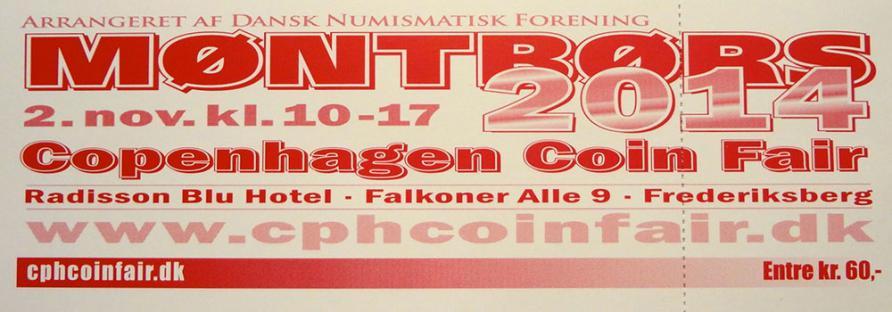 Photo of a ticket for the Copenhagen Coin Fair, 2014